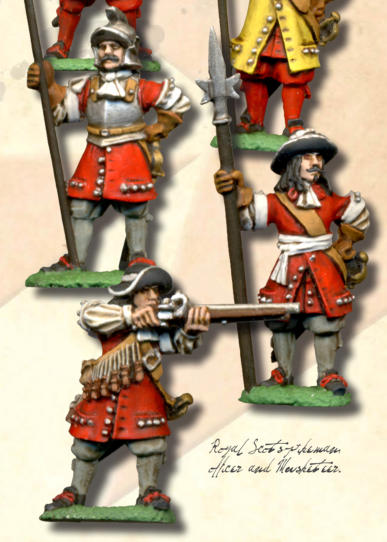 Royal Scots pikeman, officer and Musketeer.