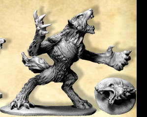 The heads of werewolves are highly prized trophies – any figure that kills a werewolf may spend an extra turn cutting off its head, which may be sold for 20gc after the game.