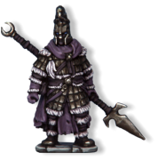 Wraith knights are the most powerful creations of the Lich Lord. They appear to be suits of heavy armour containing nothing but a black emptiness and a pair of burning eyes.