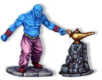 The Genie cannot be hurt by normal weapons and will only take damage from magical weapons or spells. A figure fighting with a non-magical weapon can still win a fight against the Genie, he just won't cause any damage.