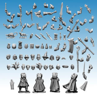 Frostgrave Wizards II. A group shot of all the pieces that make up the Frostgrave Wizards II plastic frame. Please note this isn't the actual frame shot.
