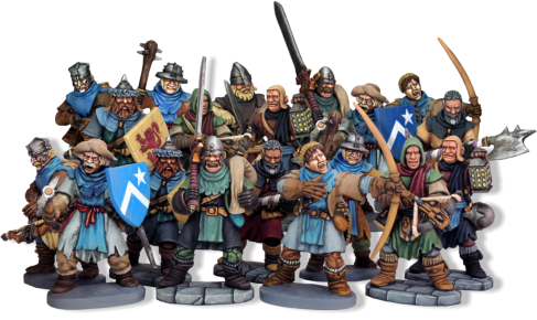 This is a set of 20 plastic 28mm sized figures. Their role in the game is to accompany the Wizards into the frozen city, fight opponents and grab treasure. Players design their own band of followers, and arm them as they wish.