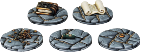Five of The six Treasure tokens. Each player in Frostgrave needs 3 treasure tokens, as markers to represent the magic items the Wizard parties are seeking. Our treasure tokens are round bases with different treasure items sculpted on.