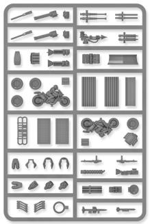 A plastic frame of weapons, armour, drivers and much more. Designed to help you customise your die-cast cars into instruments of death to use in games like Gaslands Refuelled. The Implements of Carnage includes: 4 machine Guns 3 Heavy machine Guns  ect