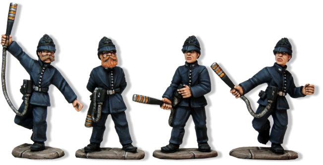 The backbone and very effective part of the Scotland Yard Company are perhaps the trickiest of all the models to make and paint. Mike Owen has sculpted some very lively and attractive models, with a good period look.