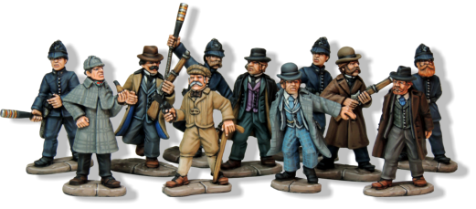 Scotland Yard Company. This consists of a force of nine British Bobbies supported by a Consulting Detective and his Good Doctor companion.