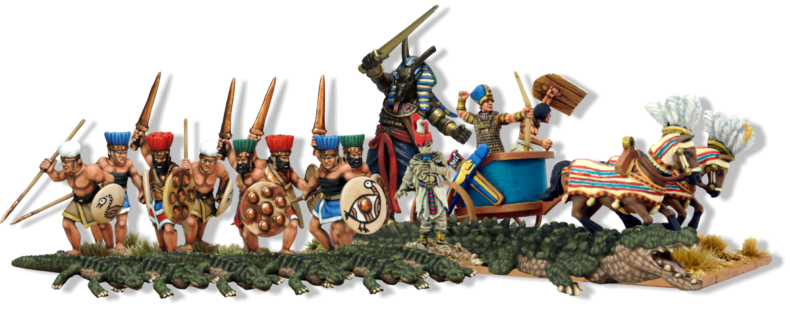 1x God. Set. 3x Legends. Pharaoh in Chariot, Great Mummy & Giant Crocodile. 14x Mortals. Eight Sea People Warriors & six Crocodiles. 1x Free Mummy figure. 1x Free set of measuring sticks.
