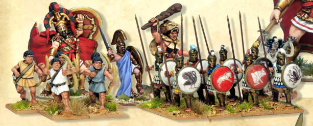 Greek faction for Of Gods and Mortals. God Ares and Legend Hercules are official North Star figures, the Minotaur legend is from Foundry and the Medusa an old Citadel figure. The mortals are Crusader Miniatures.
