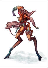 Arlissians, an insectoid race that lost their wings through evolution, compensate by designing the most efficient jump packs in the galaxy. Zita-Koma-Hu is a member of the sexless drone cast, and displays a penchant for leaping to high places.