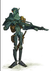 This example of a typical sniper droid employed by Space Patrol Response teams across the galaxy is based on the planet of Huskiss. This bot manufacturing world is the scene of many violent clashes between pro- and anti-Artificial factions.