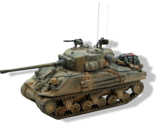A Rubicon Models Sherman tank, with extra stowage added.