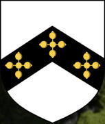 Lord Eyre coat-of-arms, three quatrefoils Or within a chevron Sable.